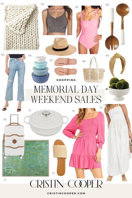 Memorial Day Sales // blankey // sports bra // one piece swim // salad toss // jeans // mixing bowls // flip flops // sandals // hat // headband // suitcase // painting // Dutch oven // dress // bag http://liketk.it/3h5zF #liketkit @liketoknow.it