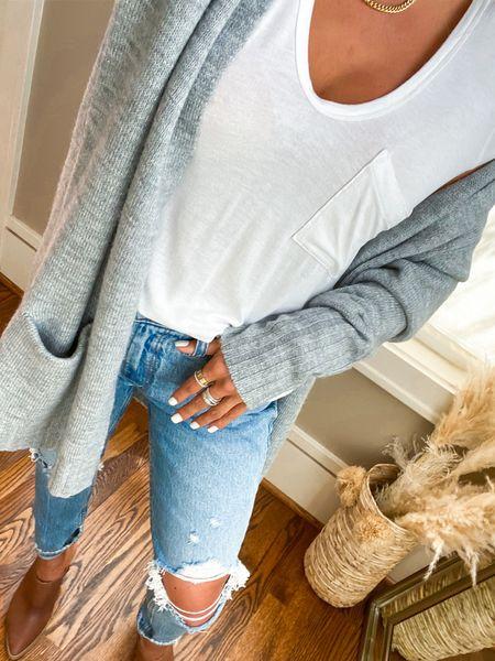 Cardigan and tee on sale jeans on sale mules on sale NSALE   #LTKsalealert #LTKunder50 #LTKunder100
