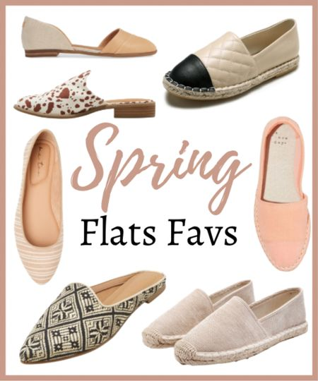 Spring flat favs!  These are some of my favorite flats for this spring season!   ✨✨✨✨✨  Flats, flat shoes, spring flats, trendy flats, shoes, spring shoes  #LTKunder100 #LTKSeasonal