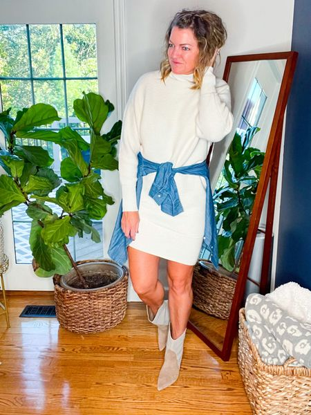 This asymmetric sweater dress is so good. It is TTS   These boots are so dang cute and TTS.   This exact chambray shirt isn't online but linked a few options         #LTKSeasonal #LTKstyletip #LTKshoecrush