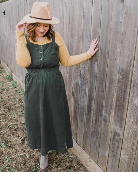 """Sharing my super affordable Thanksgiving/fall outfit over on the @liketoknow.it app! 🍂 I'm kind of obsessed with corduroy dresses right now, so I was super excited to find this modest version for less than $30. (I also linked some similar options I'm loving too.) Click the """"Shop My Latest Post"""" link in my bio or shop your screenshot of this pic on the app. http://liketk.it/2y7Y8 #liketkit #LTKsalealert #LTKunder50"""