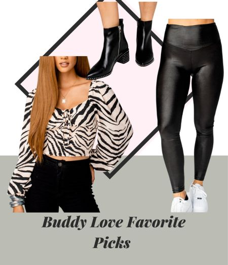 Love a good fall look with black ankle boots, leather leggings and a nice printed blouse. Enjoy this look and shop it! I love Buddy Love looks!   #LTKstyletip #LTKshoecrush #LTKSale