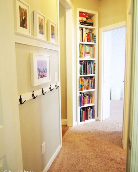 Transform your hallway into a functional and stylish space for the whole family!!  Grab the building plans at https://gatheredinthekitchen.com/diy-hallway-wall-transformation/  http://liketk.it/3bsx9 #liketkit @liketoknow.it #LTKunder50 @liketoknow.it.home Follow me on the LIKEtoKNOW.it shopping app to get the product details for this look and others