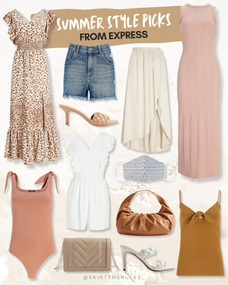 Express, summer dress, beach vacation, wedding guest dress, summer style, summer outfit: leopard maxi dress, high waisted denim shorts, woven mules, pink bodysuit with bow straps, white romper, beige crossbody bag, cream midi skirt, floral face mask, brown faux leather bag, white woven heels, pink maxi dress, mustard bow cami. @liketoknow.it http://liketk.it/3gkdR #liketkit   #LTKsalealert #LTKunder100 #LTKstyletip