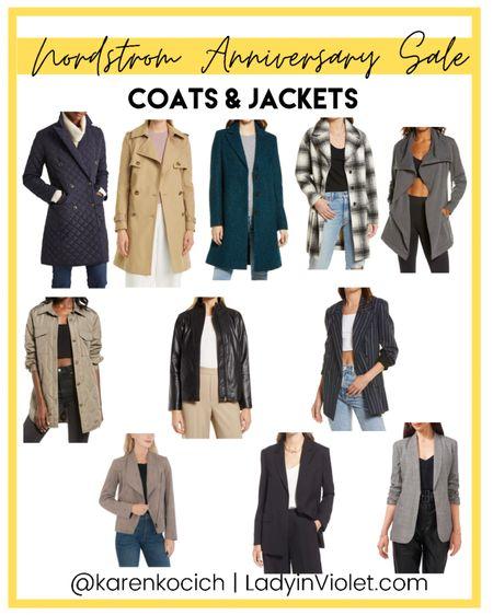 Nordstrom Anniversary sale / nsale / long coats / trench coat / plaid coat / lightweight jackets / blazer / Leather jacket    #LTKsalealert #LTKunder50 #LTKunder100