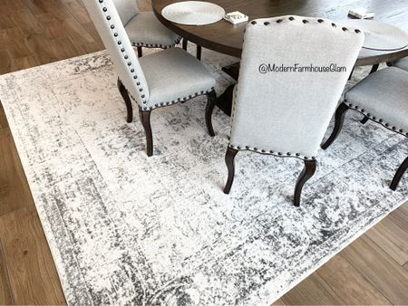 Neutral area rug on her dining room table at Modern Farmhouse Glam. Round dining room tables. Rectangular dining room tables. Dining room chairs. Furniture, home decor, Pottery Barn, Wayfair, Amazon home.  #LTKhome #LTKSeasonal #LTKHoliday