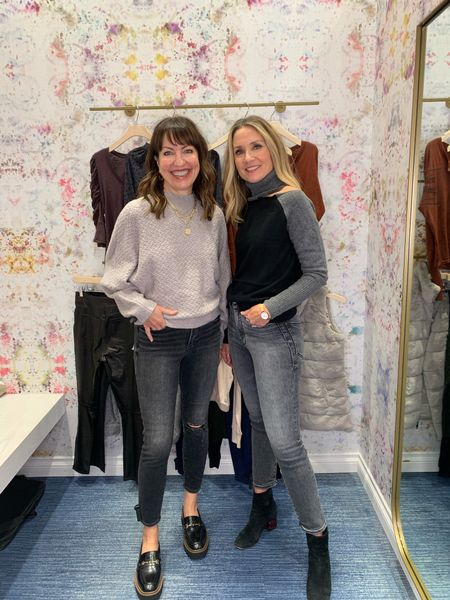 Love these fall sweaters paired with the perfect fall denim! @evereveofficial  #lastseenwearing   Evereve, grey sweater, cut out shoulder sweater, color block sweater, grey jeans, cold shoulder sweater, distressed jeans, loafers, chunky sole loafer, black jeans  #LTKstyletip #LTKunder100 #LTKshoecrush