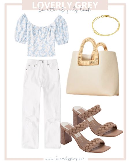 Loverly Grey Fourth of July look 🇺🇸 pair white mom jeans with a blue and white puff sleeve top!   #LTKunder100 #LTKstyletip #LTKSeasonal
