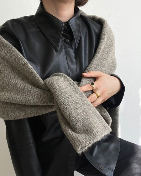 vegan leather shirt + knits  http://liketk.it/3fBIL #liketkit @liketoknow.it #LTKeurope #LTKstyletip