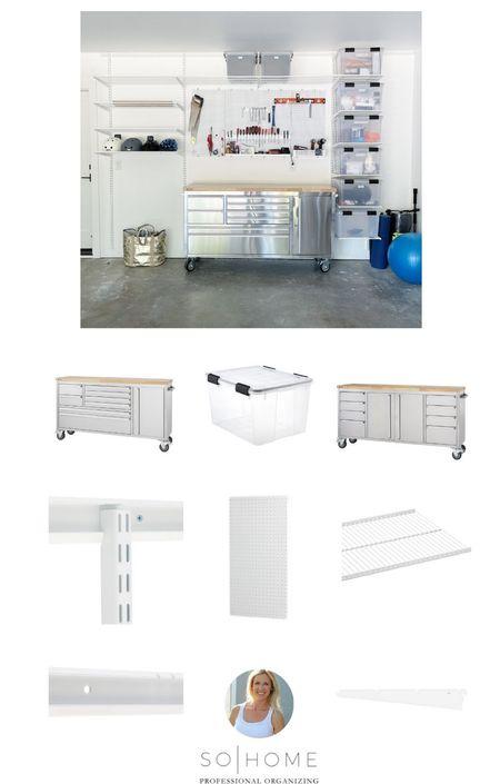 Garage work space || #garageorganization #homeorganization #garage  #LTKbacktoschool #LTKhome #LTKfamily