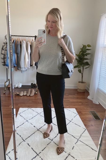 """Happy Tuesday 🍂 This short sleeve sweater is so good, I've got it in the gray and ivory colors!  It's on sale for 40% off today with code """"GOBIG"""".  And, my favorite black ankle pants I'm wearing are back in stock!  Shop this post on the@shop.ltkapp and follow @classyyettrendy on the app! Everything is also linked here ➡️ https://classyyettrendy.com/instagram-shop/  #capsulewardrobe#smartcasual#whatiamwearing#effortlessstyle#effortlesschic#dailyoutfit#outfitstyle#mystyle#minimaliststyle#elegantstyle#mystylediary#outfitinspirations#dailyfashion#realoutfitgram#wiwtoday#howtostyle#howtowear#parisianstyle#parisiennestyle#parisianchic#simplestyle#simplelook#neutralstyle#neutralaboutit#classicoutfit#classicstyle  #LTKstyletip #LTKunder100 #LTKunder50"""