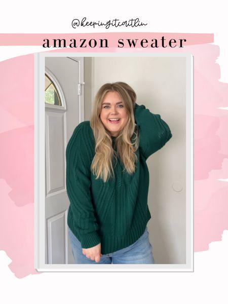 Amazon chunky sweater. Wearing xxl. Perfect holiday sweater   #LTKcurves #LTKunder50 #LTKSeasonal