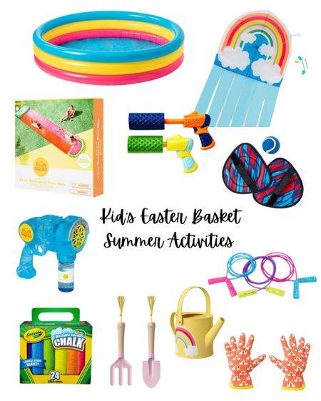 Easter basket gift, kids Easter basket, Easter basket ideas, summer activities, chalk, inflatable pool, kids summer toys, target finds. #LTKSeasonal #LTKkids #LTKswim #liketkit @liketoknow.it http://liketk.it/3avnR