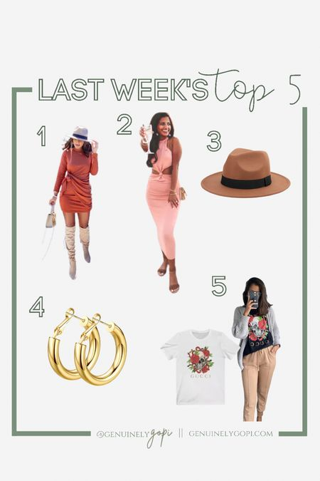 Last weeks top 5 looks/products!   my go-to gold hoop earrings are on sale for under $13! grab 'em while they last! I've had them for years and they look good as new. 🙌🏽  #LTKsalealert #affordablefashion #amazonfinds #amazonfashion #designerinspired #top5 #fedora #trendy  #LTKunder50 #LTKstyletip #LTKeurope