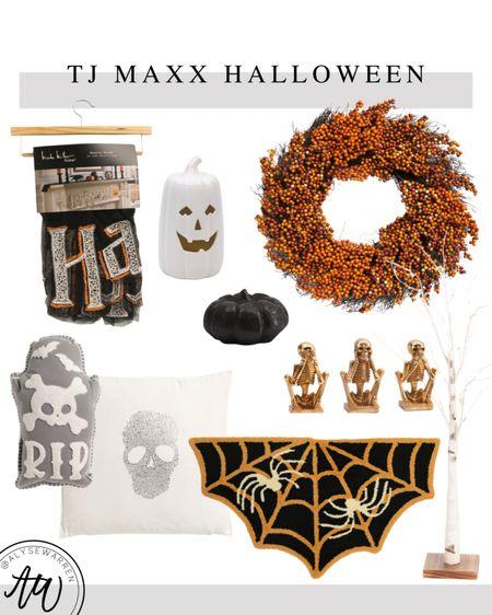 Halloween decor at TJ Maxx online!  Mantel garland, halloween banner, ceramic pumpkin, berry wreath, fall wreath, front door, porch, black pumpkin, Halloween pillows, couch, sofa, living room, bedroom, kids' bedroom, playroom, doormat, skeletons, table decor, shelf decor   #LTKSeasonal #LTKhome