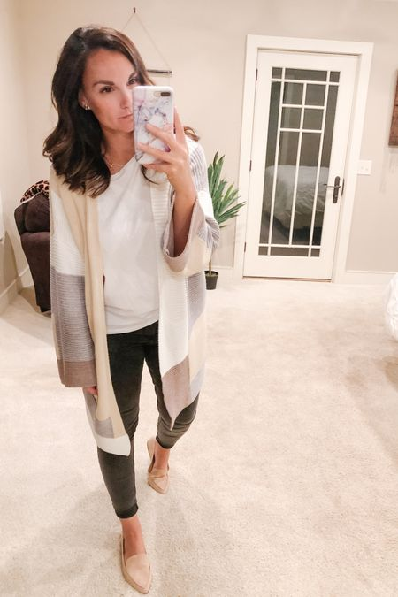 Holy rainy fall day today! We actually had to turn our heat on when we got home because it was so chilly! I wanted so bad to turn on the fire place but it's not working! 😩 It felt good to be cozy in this oversized cardigan I found!! It comes in 7 different color block options. I'm wearing a size medium with these grey jeggings that are currently more than half off and also true to size, along with the most perfect neutral loafer to keep it looking fall transitional! Snuggle up tonight MI friends, it's gonna be chilly!!!!   http://liketk.it/2W9p1 #liketkit @liketoknow.it