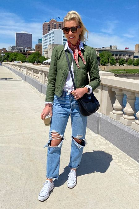 http://liketk.it/3goS9 #liketkit @liketoknow.it  Casual weekend look w/ my fa favorite relaxed fit jeans, sneakers + white button up shirt ...added a pop of red scarf for Memorial Day weekend 🇺🇸 #LTKunder100 #LTKstyletip #LTKunder50