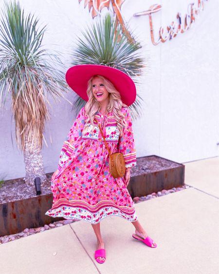 Amazon floral dress size L,  target pink shoes TTS,  Amazon earrings,  pink floppy hat/similar ones linked.  Gold initial necklace on sale during the Nordstrom sale Amazon woven basket purse Summer dress, vacation dress, summer outfit, Amazon dress, Nordstrom sale    http://liketk.it/3jCGU #liketkit @liketoknow.it #LTKsalealert #LTKunder50 #LTKstyletip