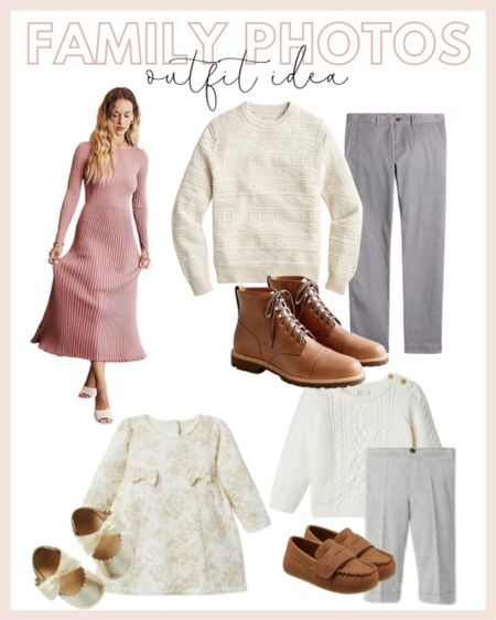 Family photo outfit ideas featuring a ribbed crew neck dress, cream sweater and gray dress pants, little girl's bow dress and a little boy's cream sweater.   #LTKunder100 #LTKHoliday #LTKfamily