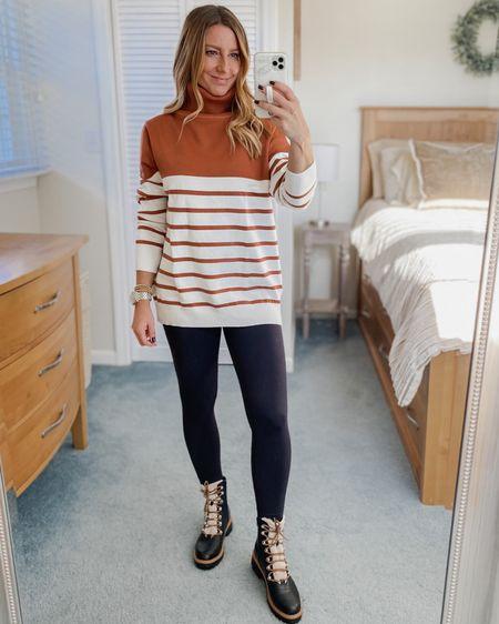 Striped turtleneck sweater, leggings, fur boots  http://liketk.it/32PRI #liketkit @liketoknow.it #LTKunder50 #LTKstyletip #LTKshoecrush