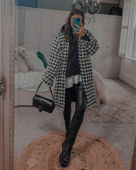 Autumn outfits ideas  Missguided Dogtooth Check Shacket  Black oversized hoodie Dr marten platform boots Coach tabby handbag   #LTKeurope #LTKshoecrush #LTKstyletip