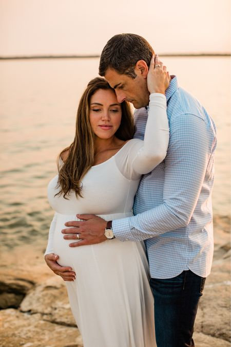 Maternity gown, maternity photoshoot dress, pregnancy dress, white off shoulder long sleeve maxi dress, bump friendly, available in tall and comes in multiple colors under $100!   #LTKunder100 #LTKFall #LTKbump