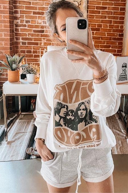 Graphic sweatshirt, oversized sweatshirt, loungewear, grey shorts, Abercrombie   #LTKtravel #LTKstyletip #LTKunder50