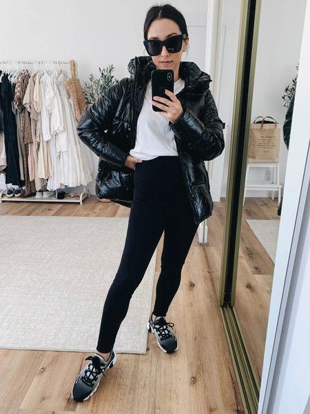 Sam Edelman puffer coat. Petite-friendly puffer.  Coat- Sam Edelman xxs Leggings- Ingrid & Isabel 1 Shoes- Nike 6  #LTKshoecrush #LTKbump