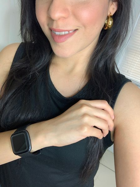 I wear my Fitbit Versa watch to track my sleep and daily steps. I wear it in black but it's available in other colors too! Added a nude lipstick and hoop gold earrings.   #LTKtravel #LTKworkwear #LTKstyletip