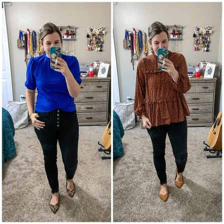 Two cute work blouse options!   Leopard and royal blue.