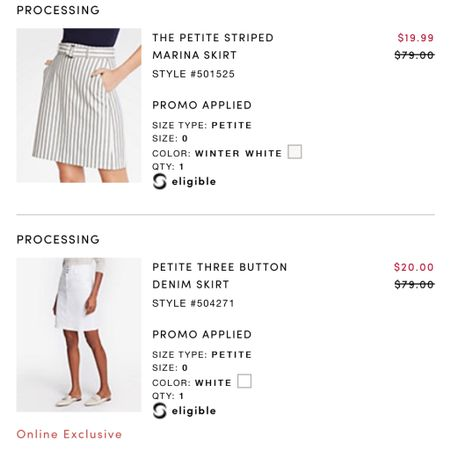 """UPDATED Stackable Codes 4/17 -🚨 Daily Deal Alert! Cardmembers get 50% off your purchase at Ann Taylor using the code HOPTOIT. I noticed that you can stack the code THANKS7 for an extra $50 off your full-price promotional purchase of $100+ since the shopping cart is accepting two codes at checkout. Lastly I used ShopRunner for free 2-day shipping on my order of $25+ and I got 75% off retail on these two new skirts! 😱 Note: I did have to add a filler item. Size 0P in the striped skirt has no stretch and it has a 26"""" waist and size 2P has a 27"""" waist. The white denim skirt in 0P has a 27"""" waist. @liketoknow.it http://liketk.it/2B91y #liketkit #LTKsalealert #LTKspring #LTKunder50 #LTKworkwear"""