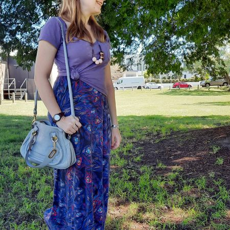 Layering up a rarely worn but oh so pretty feather print maxi dress with a lilac tee 💜 I'll always love knotting a tee over a maxi dress! Easy outfit for the school run, errands, and a trip to the playground and the library 💜  Accessorised with my little Chloe periwinkle small Paraty bag which goes so well with the lilac 💙   --------------- ------------------------ ----------------  ------------------ -------------------------------  Screenshot this pic to shop the product details from the @liketoknow.it app, or click here: http://liketk.it/3fn0N #liketkit #LTKitbag #everythingLooksBetterWithABag #chloebag #chloeparaty #dressOfTheDay #everydaystyle #realeverydaystylepic #realmumstyle #wearedonthestreet
