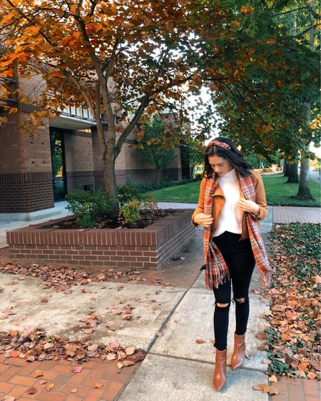 A casual chic fall outfit with a faux suede jacket, a plaid scarf, and black skinny jeans. I linked similar jackets and scarves in the @liketoknow.it app! These Topshop high-waisted jeans are my favorite. http://liketk.it/30AlL #liketkit #LTKstyletip #LTKshoecrush #FallFashion #FallStyle #FallOutfit #FauxSuedeJacket #WeekendStyle #CasualChic #AnkleBoots
