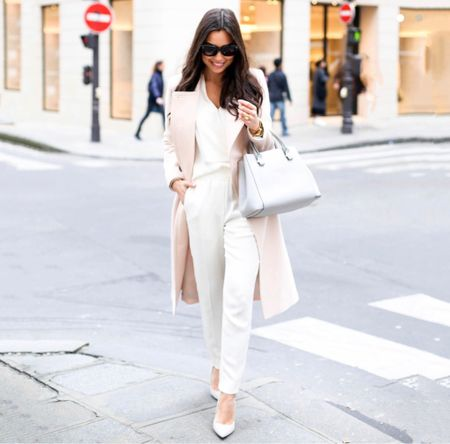 All ivory a outfit with blush coat in Paris. #fallstyle #blushcoat  #LTKstyletip #LTKSeasonal #LTKtravel