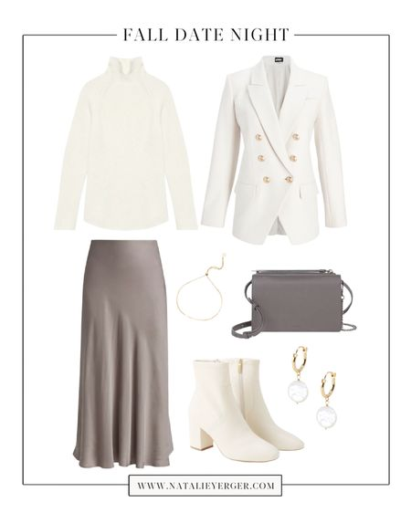 Perfect fall date night outfit or Thanksgiving outfit if you're aiming for chic, neutral, and feminine. This slip skirt by L'AGENCE is one I've been sharing all season, and the blazer pictured is a lookalike for my favorite luxury white blazer in my closet. You could also swap the sweater for a fitted cream bodysuit, if it's warm where you are! 🍂 For 5 more fall date night outfit ideas, visit natalieyerger.com today!  #falldatenight #falldatenightoutfits #datenightfall #datenightoutfit #thanksgivingoutfit #thanksgivingoutfitwomens #dressyfalloutfit