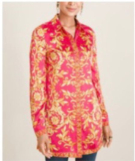 Chico's Scroll Print Tunic  Great with leggings or jeans.  Perfect transitional piece. Timeless.   #LTKworkwear #LTKcurves