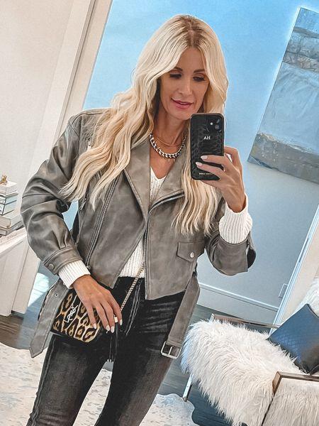 Under $100 gray leather jacket part of the NSALE runs tts I'm wearing an Xs   #LTKstyletip #LTKunder100 #LTKsalealert