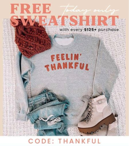 Add sweatshirt to your cart with over $125 qualifying items & use code THANKFUL to get it *FREE* today only 🦃  #LTKGiftGuide #LTKHoliday #LTKstyletip