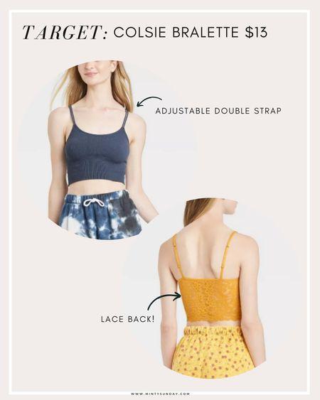 Target finds - double strap long bralette / brami by Colsie with lace back. Target finds, summer looks, loungewear, targetfavefinds   #LTKstyletip #LTKunder50