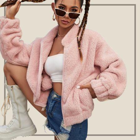 Zip up teddy jacket  #LTKunder50 #LTKstyletip