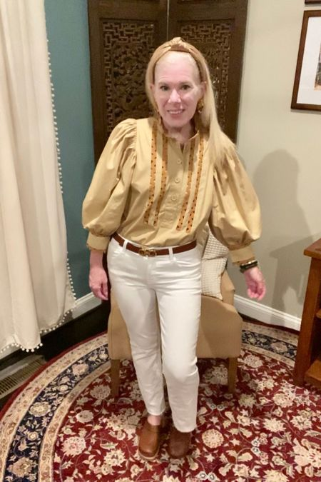 Finally Friday! Wearing more fall colors with summer flair with a ric rac trim shirt, white jeans, and clogs! Topped with a rose gold Lele Sadoughi headband and Ferragamo belt, I'm liking the look.   What's your outfit of the day?  . #ltkteachers   #LTKbacktoschool #LTKworkwear #LTKstyletip