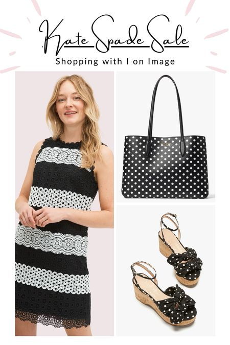 """Kate Spade ♠️🤍♠️🤍♠️ Black and white summer sale picks by your very own virtual personal stylist and shopper = me.  ♠️ Floral lace shift dress 👉 Ideal last minute wedding guest dress  🤍 """"All Day"""" large polkadot tote with pouch  ♠️ Polkadot platform wedges """"Julep"""" - Last sizes!  🤍 Knitted fit and flare dress  ♠️ Gold and enamel heritage spade bangles   🤍 Small stripy dome crossbody """"Spencer""""  📲 Follow me on @shop.ltk for more virtual personal shopping tips!   Happy summer sale shopping 🛍⛱🧁😎     #LTKsalealert #LTKeurope #LTKstyletip"""