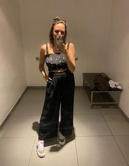 H&M summer outfit. Polka dot crop top. Black trousers. Black pants for summer. Summer style inspiration. Everyday summer style. Black pants under $20.   #LTKSeasonal #LTKstyletip #LTKunder50