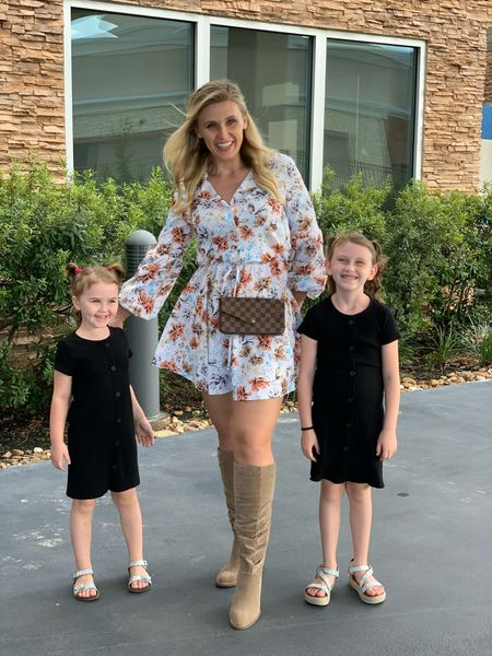 Love this fall dress and neutral color otk boots. They have a cute scrunch to them. Also tagged the girls black dress. Too!   #LTKstyletip #LTKkids #LTKfamily
