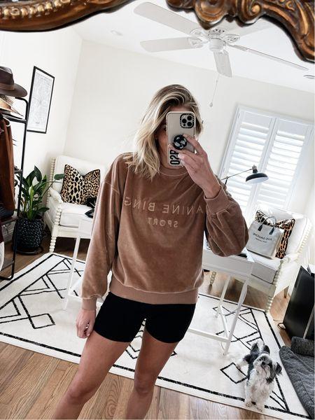 New velvet sweatshirt for fall 🖤 and linked my favorite biker shorts   #LTKfit #LTKstyletip #LTKunder100