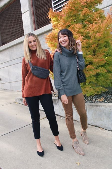 Fall persuasion🍂 Everywhere we look in Seattle, it's amazing fall leaves in brilliant colors of gold, red & orange—we forget that not every place gets to see this!🍁🧡 Soaking it up before the leaves are gone!🌬☔️ • Dressing for fall is our happy place! Faux leather is trending, but we have to say, these @loft suede leggings are a cut above—the look is rich and the softness & warmth make these such a pleasure to wear! So affordable right now at 50% off—only $35!🎉 Our sweaters are lightweight & ideal for layering under a shacket or blazer. Both come in other colors & are also 50% off during the Friends & Family sale!  Loft, fall outfit, casual outfit, faux leather leggings, school outfit, teacher outfit, work outfit, fall sweater, fall sale, sweater sale  #LTKunder50 #LTKworkwear #LTKsalealert