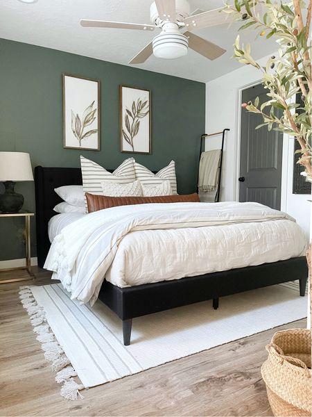 Modern Farmhouse style bedroom, moody dark green wall   #LTKunder100 #LTKunder50 #LTKhome