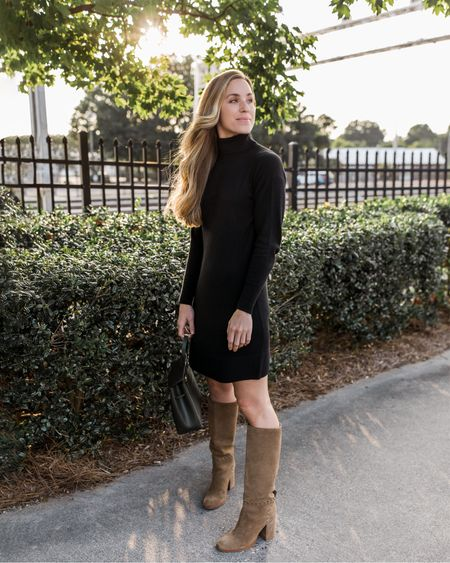 Sweater Dress, Sweater Dresses, Black Sweater Dress, Turtleneck Sweater Dress, Sweater Dress Outfit  Fall sweater dresses are some of my top recommendations if you're looking for easy, chic pieces to round out your wardrobe. I wear mine with heels, sneakers, booties, and knee high boots—they're so versatile! My dress is old by Everlane, but I found three similar to recreate the look! Boot and bag are sold out in exact colors, similar linked.  #sweaterdressamazon #falloutfitsamazon #amazonfalloutfits #amazonfallfashion #sweaterdressamazon #sweaterdress #thanksgivingoutfits