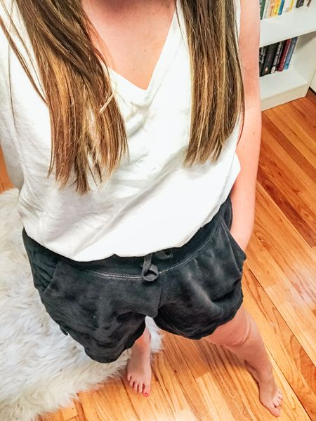 """High waisted, 5"""" inseam lounge shorts and an affordable white tank!  http://liketk.it/3gLk5 #liketkit @liketoknow.it #LTKfit #LTKunder50 #LTKstyletip"""