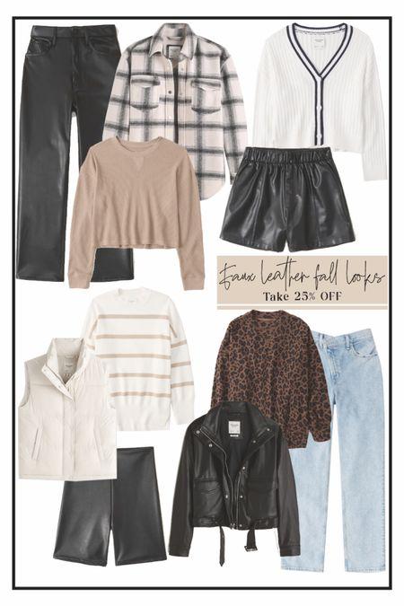 Fall staples via Abercrombie! Take 25% off!  - abercrombie, faux leather, faux leather shorts, sweaters, dad jeans, faux leather jacket  #LTKSale #LTKsalealert #LTKunder100